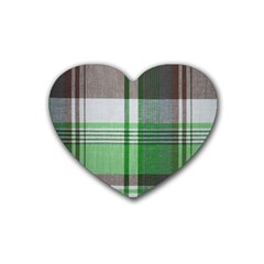 Plaid Fabric Texture Brown And Green Rubber Coaster (heart)
