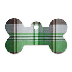 Plaid Fabric Texture Brown And Green Dog Tag Bone (two Sides)