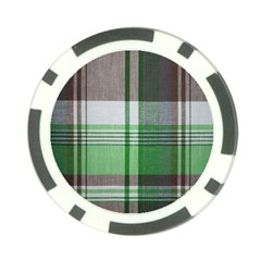 Plaid Fabric Texture Brown And Green Poker Chip Card Guard