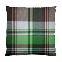Plaid Fabric Texture Brown And Green Standard Cushion Case (two Sides)