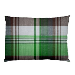 Plaid Fabric Texture Brown And Green Pillow Case
