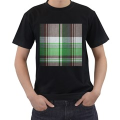 Plaid Fabric Texture Brown And Green Men s T Shirt (black)