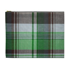 Plaid Fabric Texture Brown And Green Cosmetic Bag (xl)