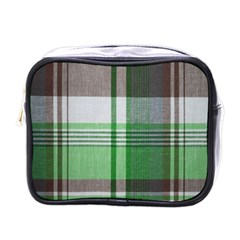 Plaid Fabric Texture Brown And Green Mini Toiletries Bags