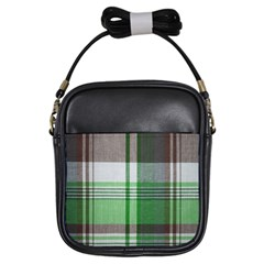 Plaid Fabric Texture Brown And Green Girls Sling Bags