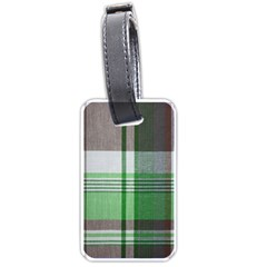 Plaid Fabric Texture Brown And Green Luggage Tags (one Side)