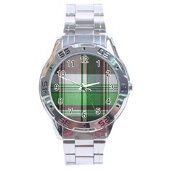 Plaid Fabric Texture Brown And Green Stainless Steel Analogue Watch
