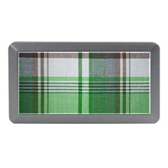 Plaid Fabric Texture Brown And Green Memory Card Reader (mini)