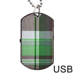 Plaid Fabric Texture Brown And Green Dog Tag Usb Flash (one Side)