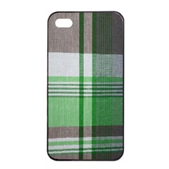 Plaid Fabric Texture Brown And Green Apple Iphone 4/4s Seamless Case (black)
