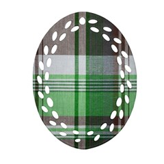 Plaid Fabric Texture Brown And Green Oval Filigree Ornament (two Sides)