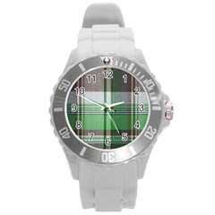 Plaid Fabric Texture Brown And Green Round Plastic Sport Watch (l)