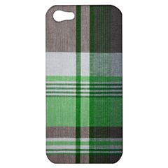 Plaid Fabric Texture Brown And Green Apple Iphone 5 Hardshell Case