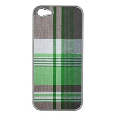 Plaid Fabric Texture Brown And Green Apple Iphone 5 Case (silver)