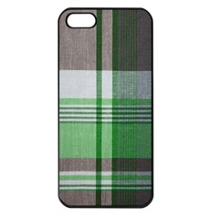 Plaid Fabric Texture Brown And Green Apple Iphone 5 Seamless Case (black)