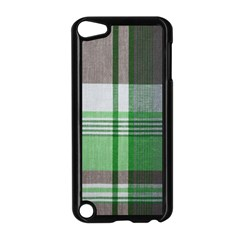 Plaid Fabric Texture Brown And Green Apple Ipod Touch 5 Case (black)