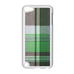 Plaid Fabric Texture Brown And Green Apple Ipod Touch 5 Case (white)