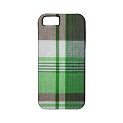 Plaid Fabric Texture Brown And Green Apple Iphone 5 Classic Hardshell Case (pc+silicone)