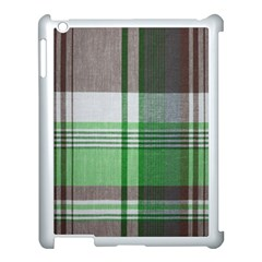 Plaid Fabric Texture Brown And Green Apple Ipad 3/4 Case (white)