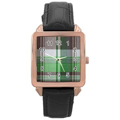 Plaid Fabric Texture Brown And Green Rose Gold Leather Watch