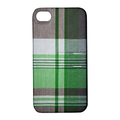 Plaid Fabric Texture Brown And Green Apple Iphone 4/4s Hardshell Case With Stand