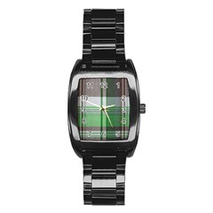 Plaid Fabric Texture Brown And Green Stainless Steel Barrel Watch