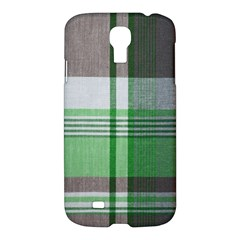 Plaid Fabric Texture Brown And Green Samsung Galaxy S4 I9500/i9505 Hardshell Case