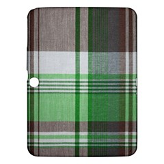 Plaid Fabric Texture Brown And Green Samsung Galaxy Tab 3 (10 1 ) P5200 Hardshell Case