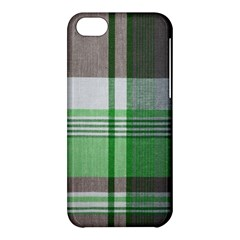Plaid Fabric Texture Brown And Green Apple Iphone 5c Hardshell Case