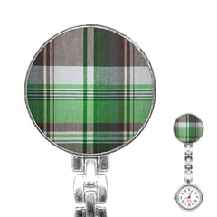 Plaid Fabric Texture Brown And Green Stainless Steel Nurses Watch