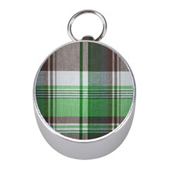 Plaid Fabric Texture Brown And Green Mini Silver Compasses