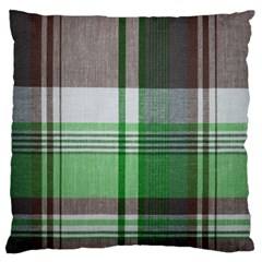 Plaid Fabric Texture Brown And Green Large Flano Cushion Case (one Side)