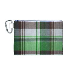 Plaid Fabric Texture Brown And Green Canvas Cosmetic Bag (m)