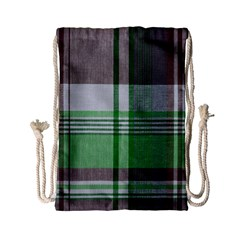 Plaid Fabric Texture Brown And Green Drawstring Bag (small)