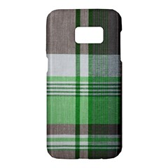 Plaid Fabric Texture Brown And Green Samsung Galaxy S7 Hardshell Case