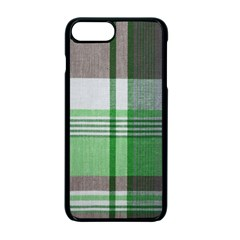 Plaid Fabric Texture Brown And Green Apple Iphone 7 Plus Seamless Case (black)