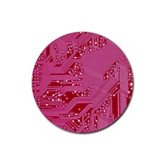Pink Circuit Pattern Rubber Coaster (round)