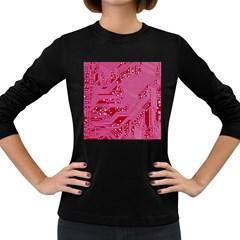 Pink Circuit Pattern Women s Long Sleeve Dark T Shirts