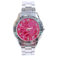 Pink Circuit Pattern Stainless Steel Analogue Watch