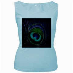 Peacock Feather Women s Baby Blue Tank Top