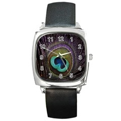 Peacock Feather Square Metal Watch