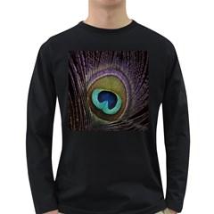 Peacock Feather Long Sleeve Dark T Shirts