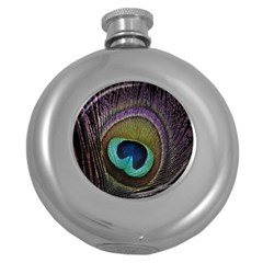 Peacock Feather Round Hip Flask (5 Oz)