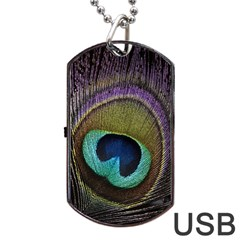 Peacock Feather Dog Tag Usb Flash (one Side)