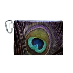 Peacock Feather Canvas Cosmetic Bag (m)