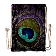 Peacock Feather Drawstring Bag (large)