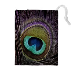 Peacock Feather Drawstring Pouches (extra Large)