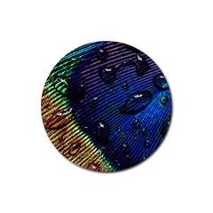 Peacock Feather Retina Mac Rubber Coaster (round)