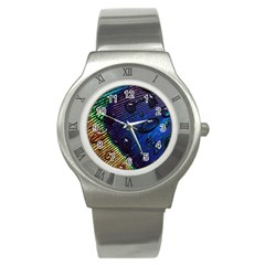 Peacock Feather Retina Mac Stainless Steel Watch