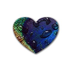 Peacock Feather Retina Mac Heart Coaster (4 Pack)